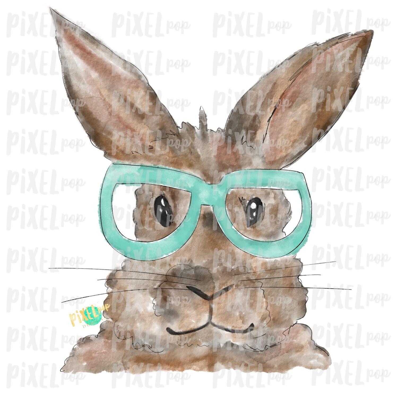 Bunny Glasses Watercolor Mint Sublimation PNG | Easter Art | Heat Transfer PNG | Digital Download | Printable | Digital Art
