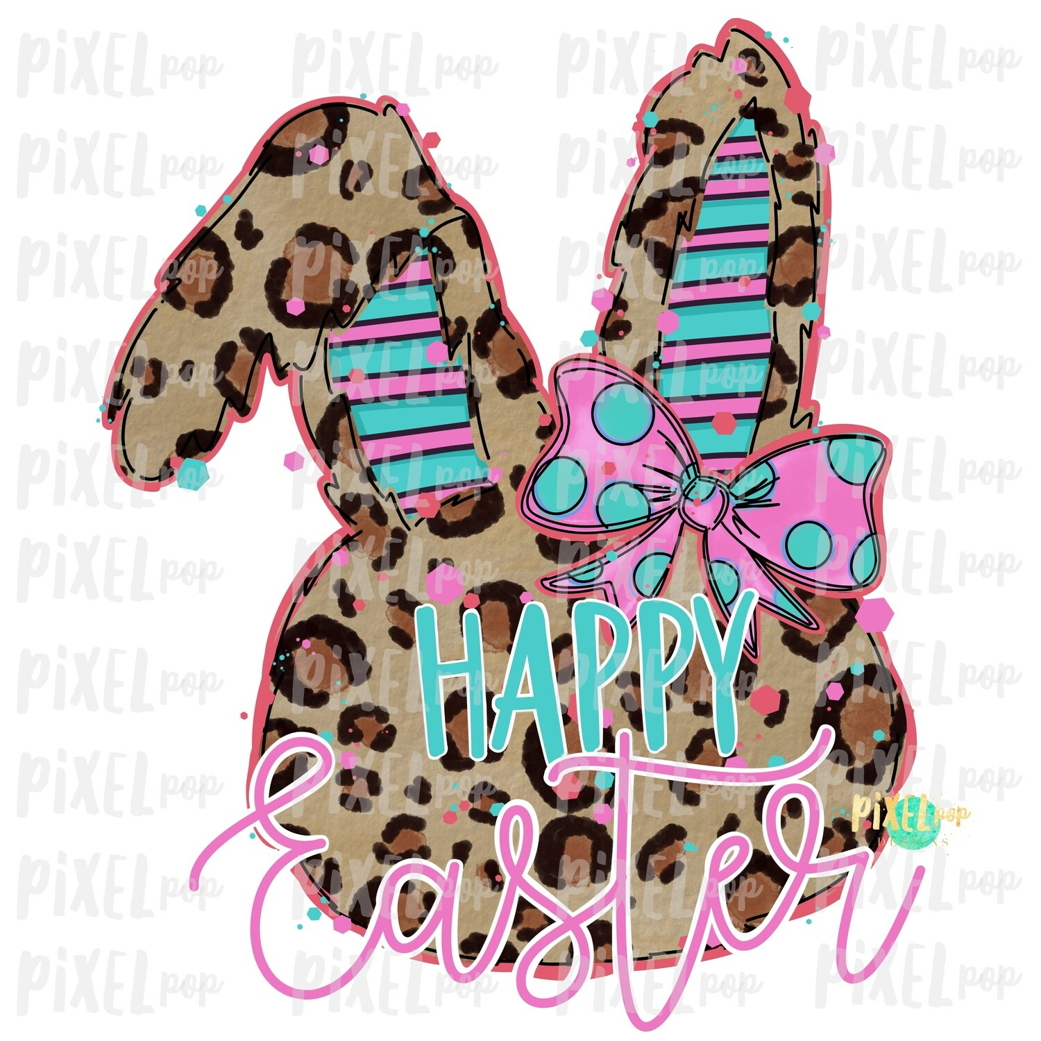Happy Easter Leopard Bunny Rabbit Coral Pink Bow Silhouette Sublimation PNG | Easter Art | Digital Download | Printable | Digital Art