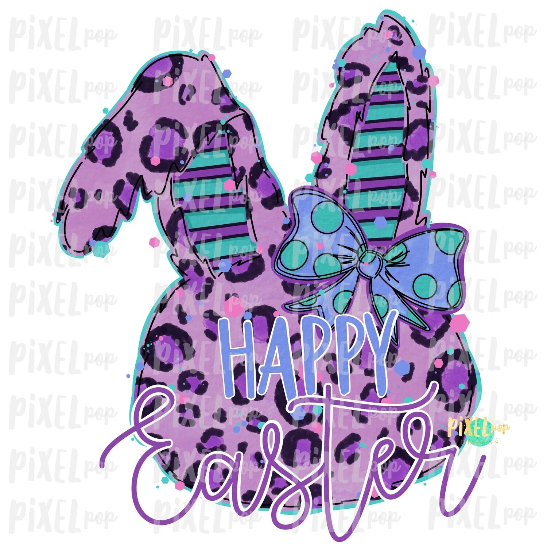Happy Easter Leopard Bunny Rabbit Purple Bow Silhouette Sublimation PNG   Easter Art   Digital Download   Printable   Digital Art