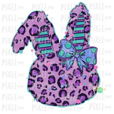 Leopard Bunny Rabbit Purple Turquoise Bow Silhouette Sublimation PNG | Easter Art | Digital Download | Printable | Digital Art
