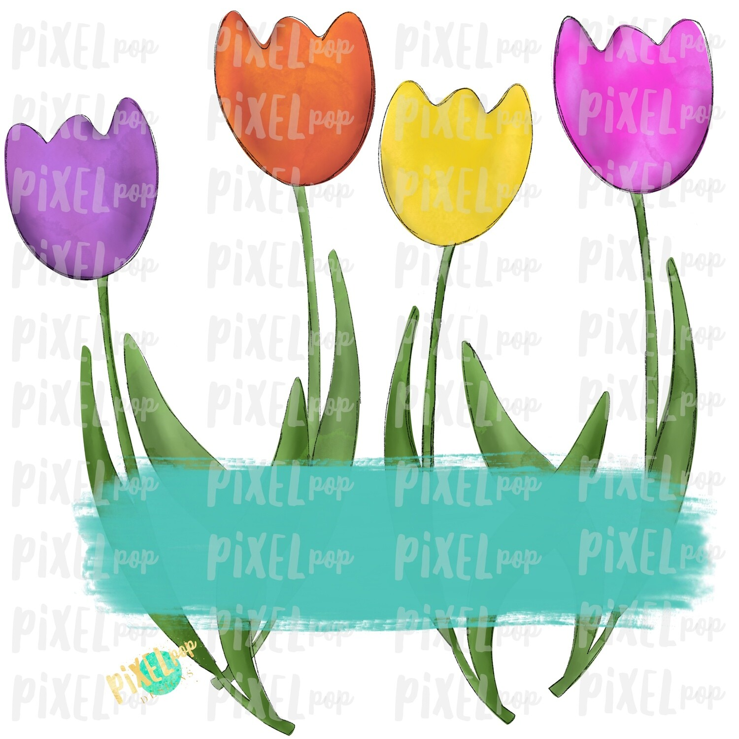 Watercolor Tulips with Blank Plate Sublimation PNG | Spring PNG | Sublimation Design | Heat Transfer PNG | Digital Download | Printable Art