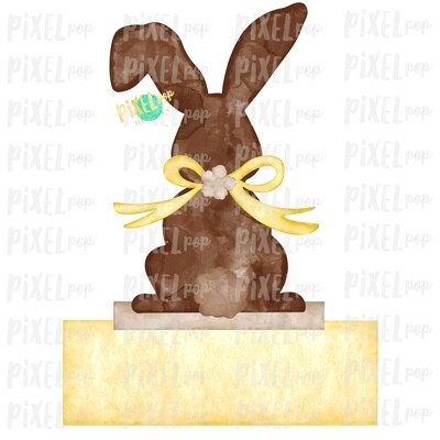 Bunny Back View Watercolor Blank Name Plate Yellow Sublimation Design PNG | Easter Flag Design | Bunny Design | Easter PNG | Watercolor Art