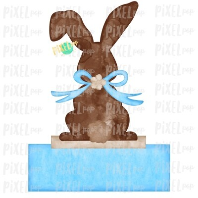 Bunny Back View Watercolor Blank Name Plate Blue Sublimation Design PNG | Easter Flag Design | Bunny Design | Easter PNG | Watercolor Art