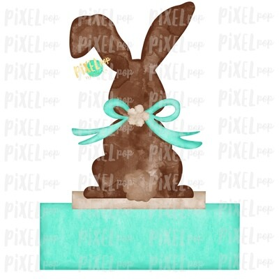 Bunny Back View Watercolor Blank Name Plate Mint Sublimation Design PNG | Easter Flag Design | Bunny Design | Easter PNG | Watercolor Art