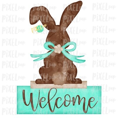 Bunny Back View Watercolor Mint Welcome Sublimation Design PNG | Easter Flag Design | Bunny Design | Easter PNG | Watercolor Art