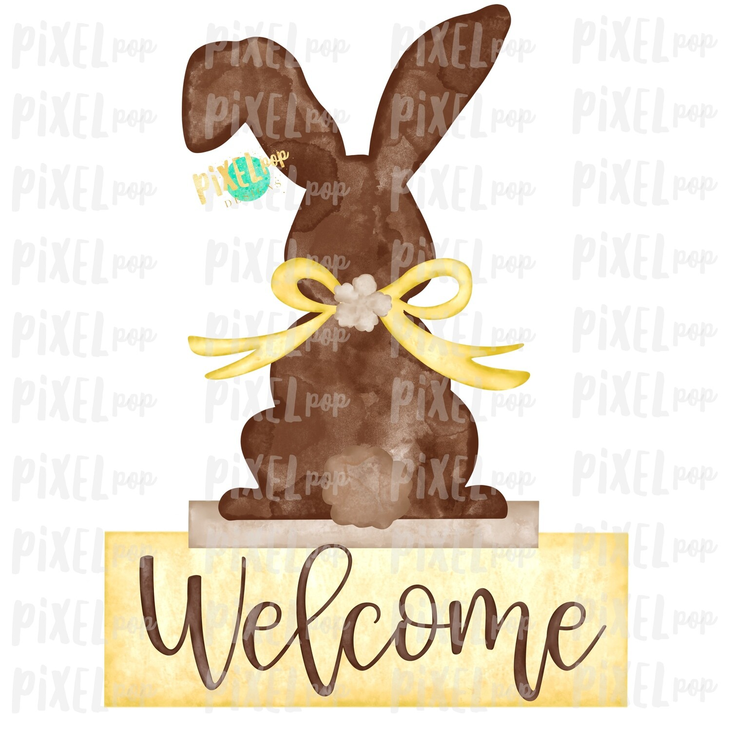 Bunny Back View Watercolor Yellow Welcome Sublimation Design PNG | Easter Flag Design | Bunny Design | Easter PNG | Watercolor Art