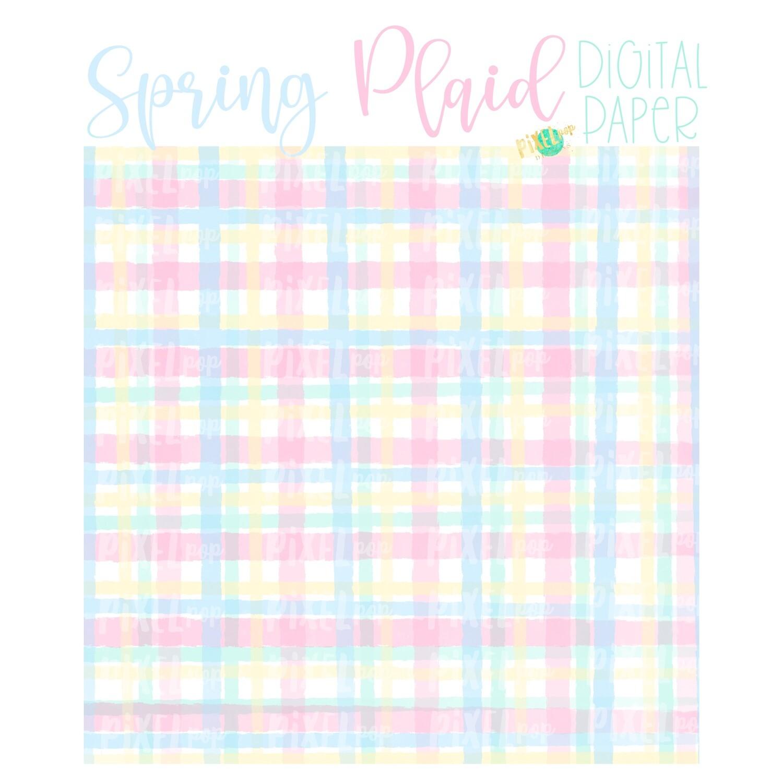 Watercolor Spring Plaid Pink Digital Paper Sublimation PNG | Hand Painted Art | Sublimation PNG | Digital Download | Digital Scrapbooking Paper