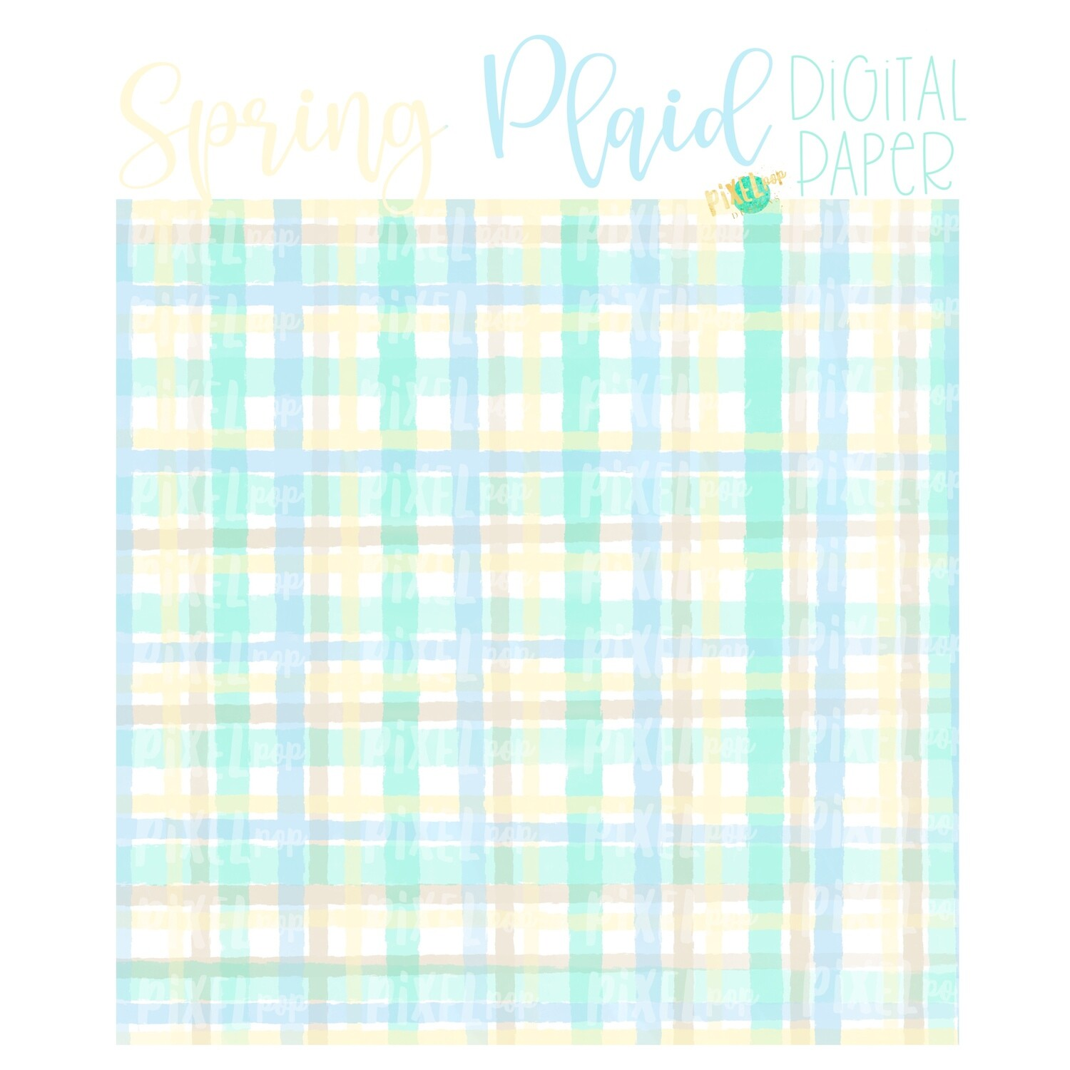Watercolor Spring Plaid Blue Digital Paper Sublimation PNG | Hand Painted Art | Sublimation PNG | Digital Download | Digital Scrapbooking Paper