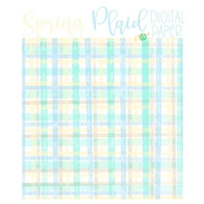 Watercolor Spring Plaid Blue Digital Paper Sublimation PNG | Hand Painted Art | Sublimation PNG | Digital Download | Digital Scrapbooking Paper