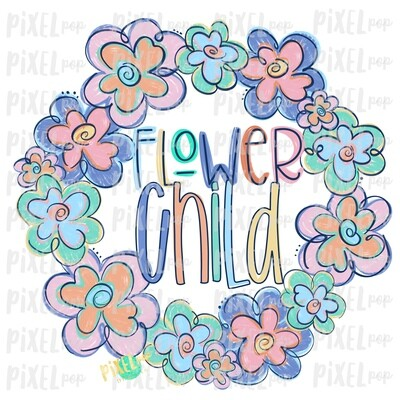 Flower Child Funky Flowers Wreath Sublimation Design PNG | Digital Painting | Spring Flowers Design | Flower Wreath | Watercolor Floral Art