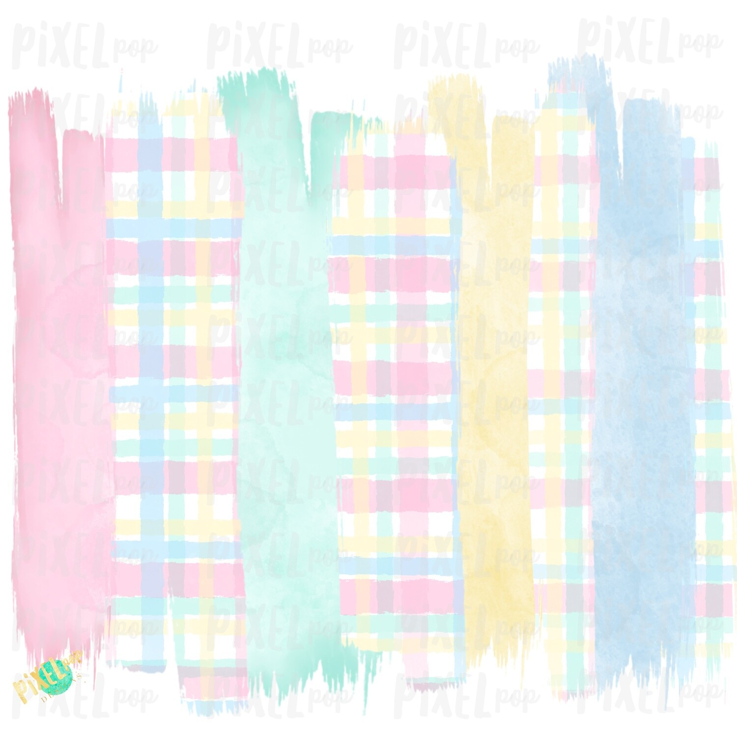 Pastel Plaid Brush Strokes Background Sublimation PNG   Reading PNG   Art   Oh the Places   Hand Painted   Digital Background   Printable