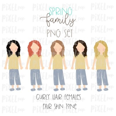 SPRING Curly Haired Females (Female E) Fair Skin Tones Stick People Figure Family Members PNG Sublimation | Family Art | Printable Art