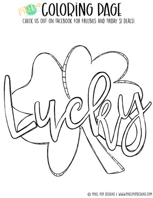 Coloring Page - Lucky Clover | Saint Patrick's Day PDF | Clover Art | Horseshoe Design | Digital Download | Printable | St. Paddy's Day