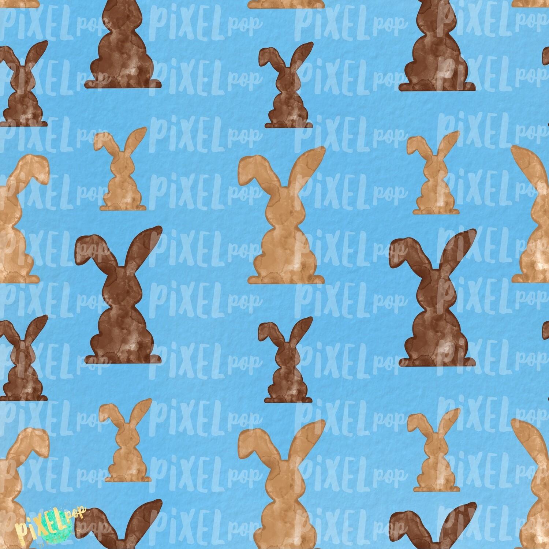 Bunnies Galore Blue Easter Digital Paper Sublimation PNG   Hand Painted Art   Sublimation PNG   Digital Download   Digital Scrapbooking Paper