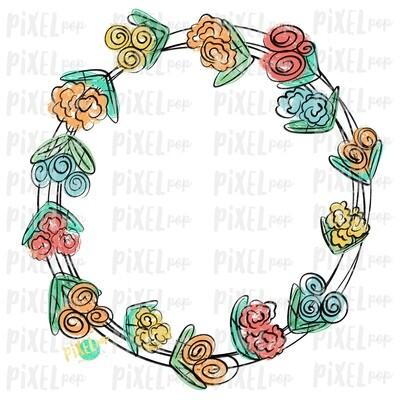 Scribble Flowers Wreath Sublimation Design PNG | Digital Painting | Spring Flowers Design | Flower Wreath | Watercolor Floral Art