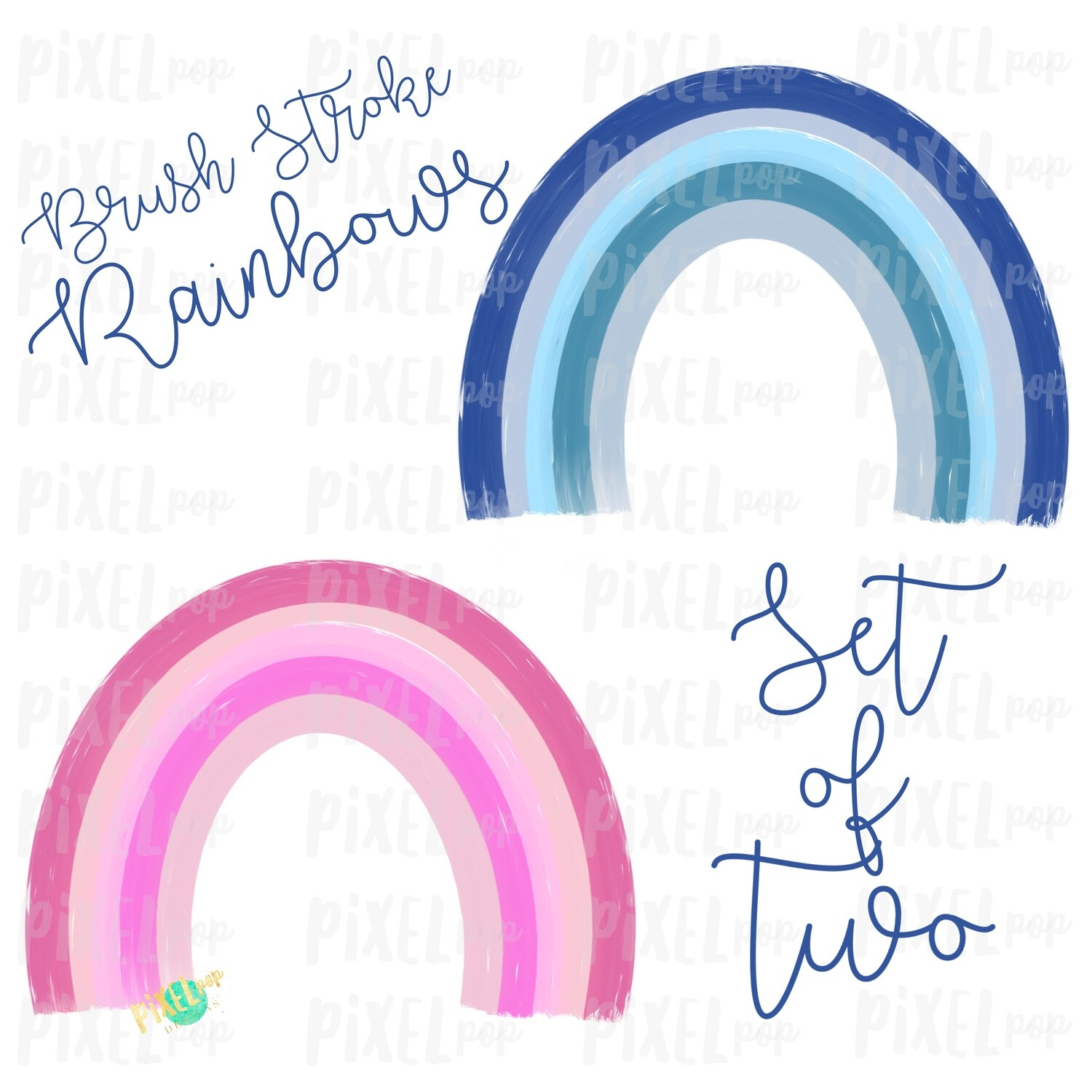 Brush Stroke Rainbows Set of Two Pink Blue Sublimation PNG   Hand Drawn   Sublimation   Miscarriage Infant Pregnancy Loss   Digital Download
