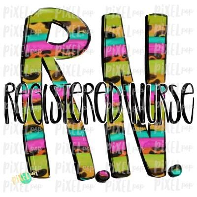 Registered Nurse RN BRIGHT PNG Design   Sublimation   Hand Drawn Art   Medical Therapist PNG   Medical Clipart   Digital Download   Art