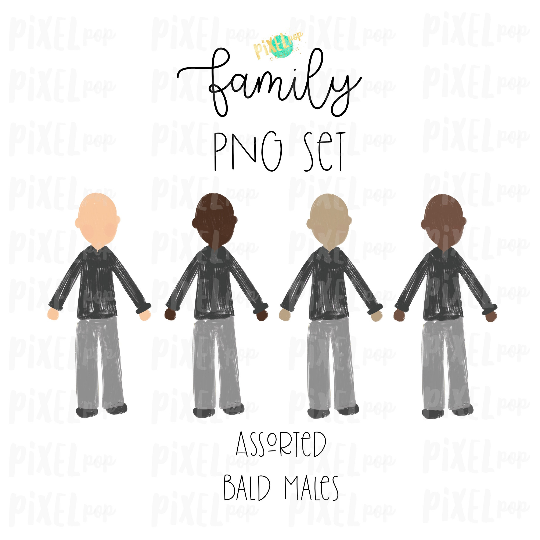 Assorted Bald Males Stick People Figure Family Members Set PNG Sublimation | Family Ornament | Family Portrait Images | Digital Download