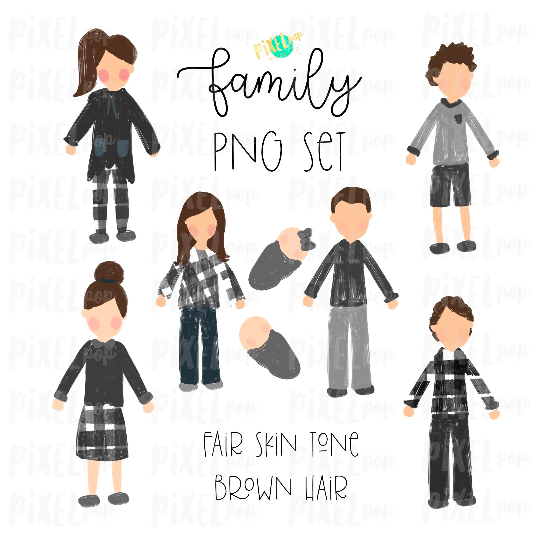 Fair Skin Brown Hair Stick People Figure Family Members PNG Sublimation   Family Ornament   Family Portrait Images   Digital Download