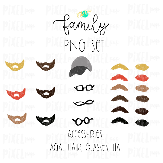 Accessories for Stick Figure People Family Members Art PNG Sublimation | Family Ornament | Family Portrait Images | Digital Download