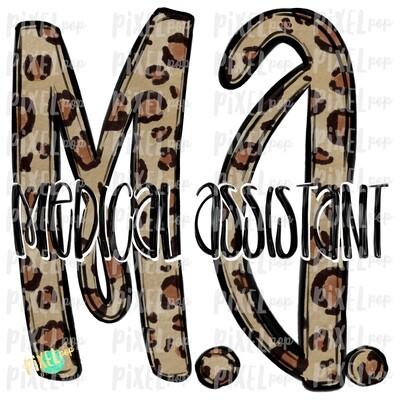 Medical Assistant MA Leopard Sublimation Design   Sublimation   Hand Drawn Art   Nursing PNG   Medical Art   Digital Download   Art Clipart