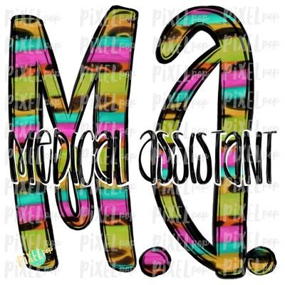 Medical Assistant MA Bright Sublimation Design   Sublimation   Hand Drawn Art   Nursing PNG   Medical Art   Digital Download   Art Clipart