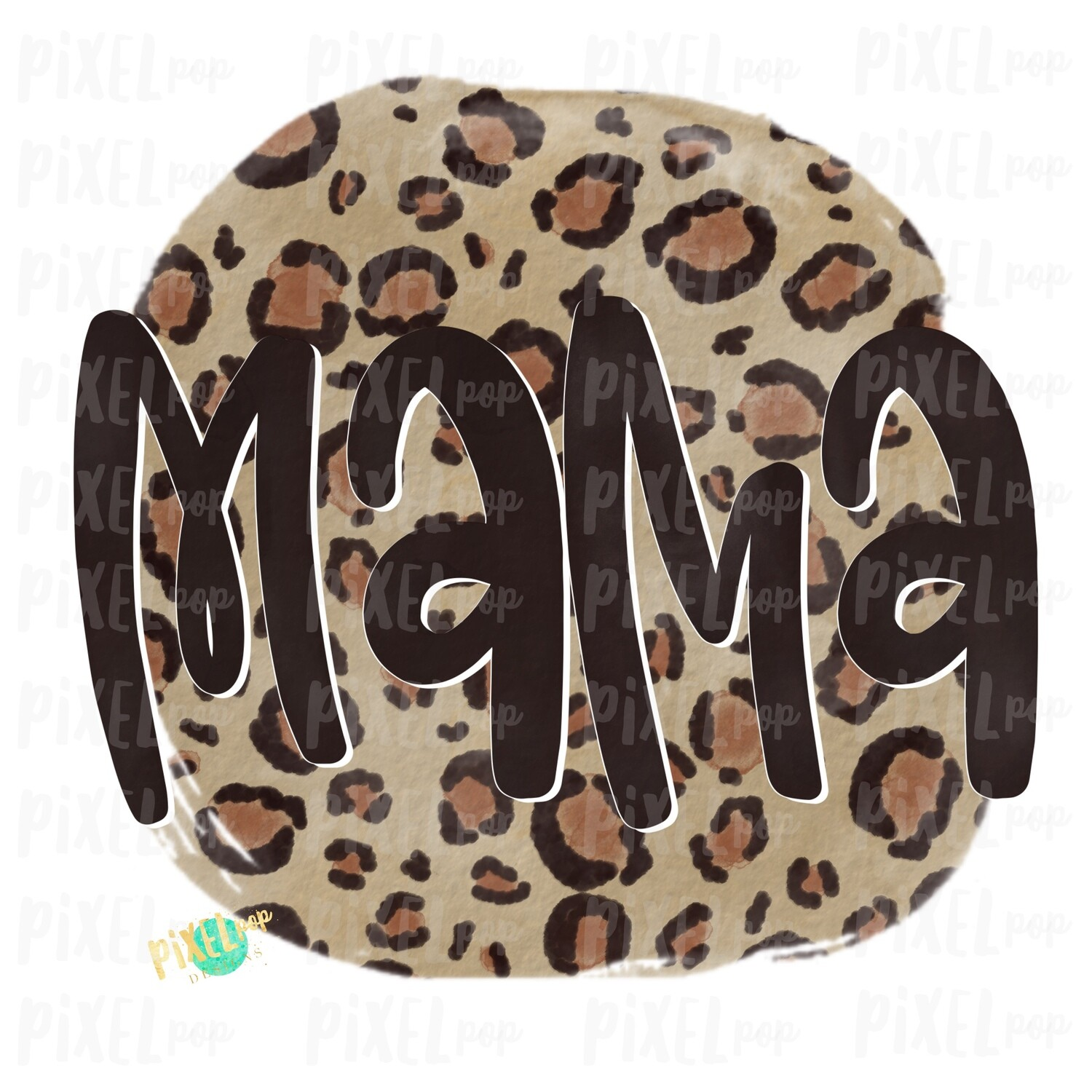 Mama Leopard Watercolor Circle Sublimation Design PNG | Hand Drawn PNG | Sublimation PNG | Digital Download | Mother's Day | Clip Art