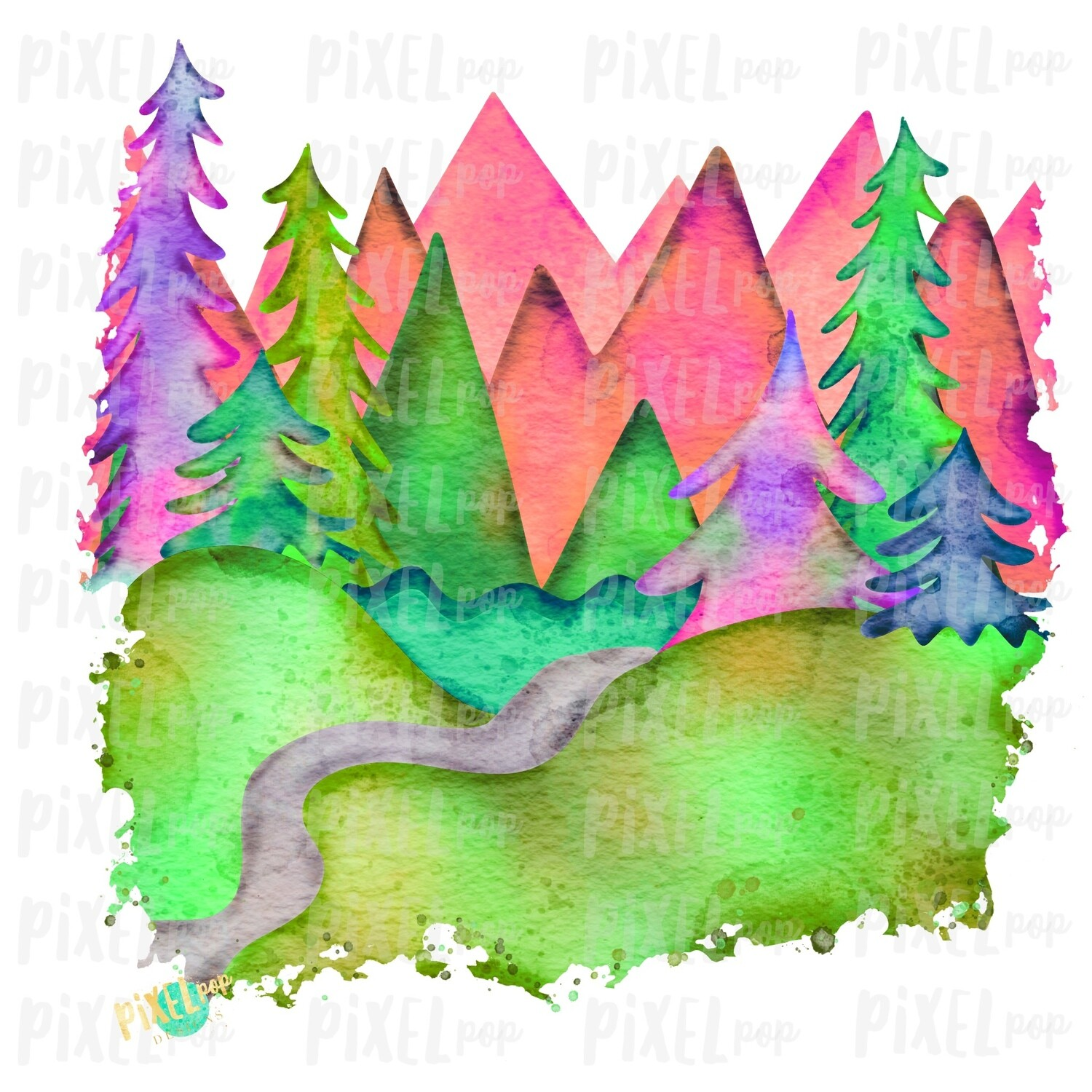 Watercolor Forest Woods Art in GLOW Sublimation Transfer Design PNG   Hand Drawn Art   Sublimation PNG   Digital Download   Printable Art
