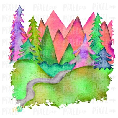 Watercolor Forest Woods Art in GLOW Sublimation Transfer Design PNG | Hand Drawn Art | Sublimation PNG | Digital Download | Printable Art