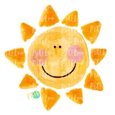 Sun Sunshine Painted Watercolor Sublimation Design PNG | Hand Drawn PNG | Sublimation PNG | Digital Download | Printable Art | Sun Art