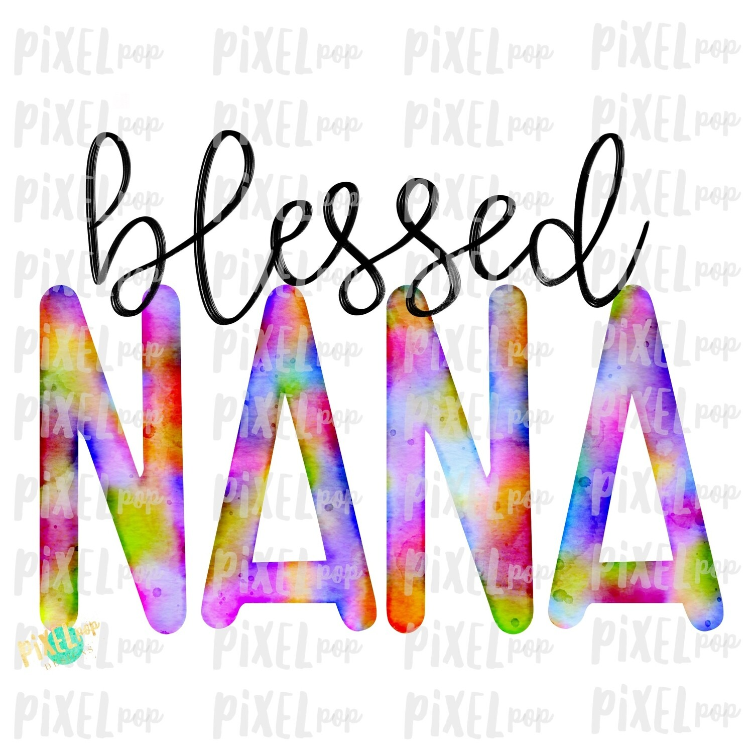 Blessed Nana Grandmother Watercolor Mother's Day Sublimation PNG | Hand Drawn PNG | Sublimation PNG | Digital Download | Printable Art | Art