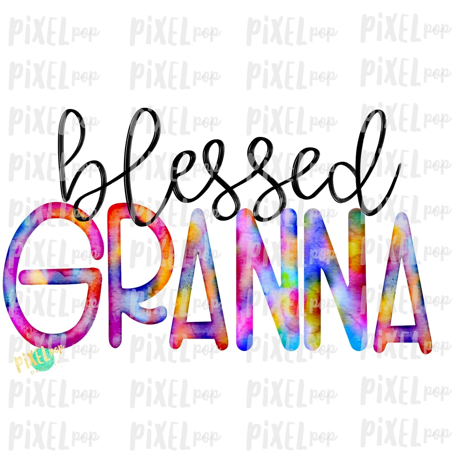 Blessed Granna Watercolor Mother's Day Sublimation Design PNG   Hand Drawn PNG   Sublimation PNG   Digital Download   Printable Art   Art