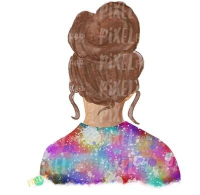 Bun Girl Light Brown Tie Dye Shirt Sublimation PNG | Sublimation Design | Hippie Girl | Digital Download | Printable Art