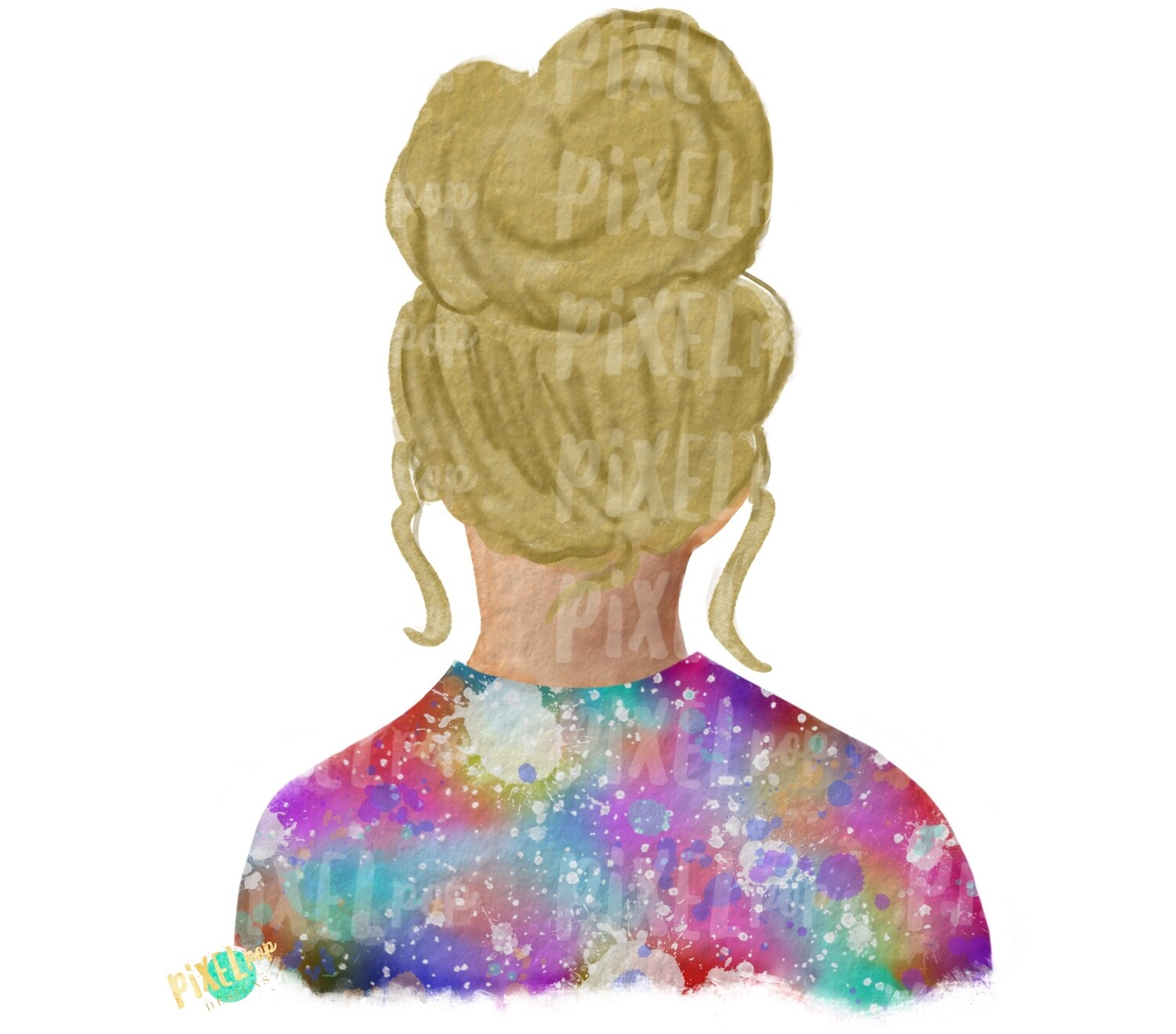 Bun Girl Blonde Tie Dye Shirt Sublimation PNG | Sublimation Design | Hippie Girl | Digital Download | Printable Art