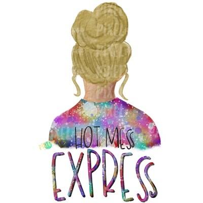 Hot Mess Express Bun Girl Blonde Tie Dye Shirt Sublimation PNG | Sublimation Design | Hippie Girl | Digital Download | Printable Art