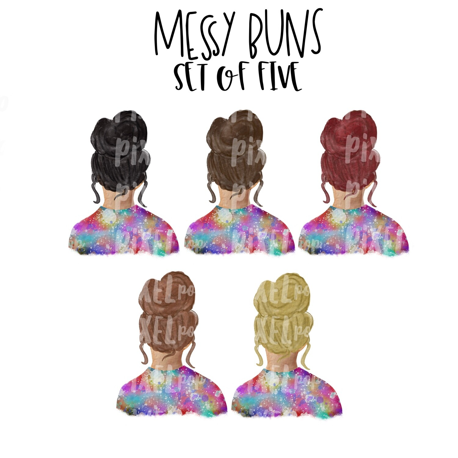 Messy Buns Girls Set | Tie Dye Shirt Sublimation PNG | Sublimation Design | Hippie Girl | Digital Download | Printable Art