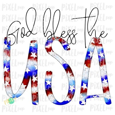 God Bless the USA Watercolor PNG | Hand Painted Sublimation Design | July 4 Design | Independence Day Digital Art | Printable Art | Clip Art