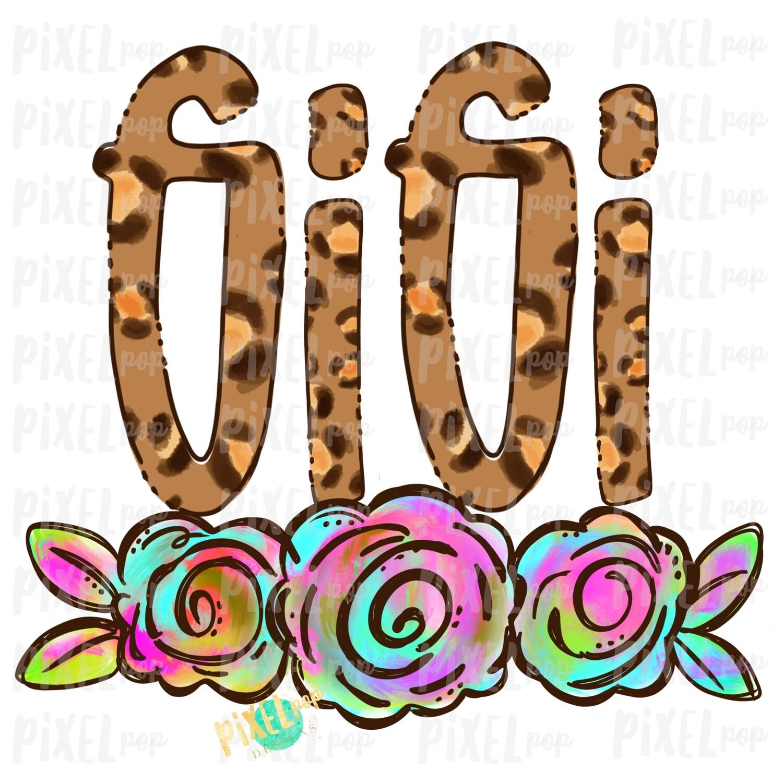 Gigi Leopard Print Rainbow Flowers PNG   Mother's Day Sublimation Design   Hand Painted PNG   Digital Art   Printable Art   Clip Art