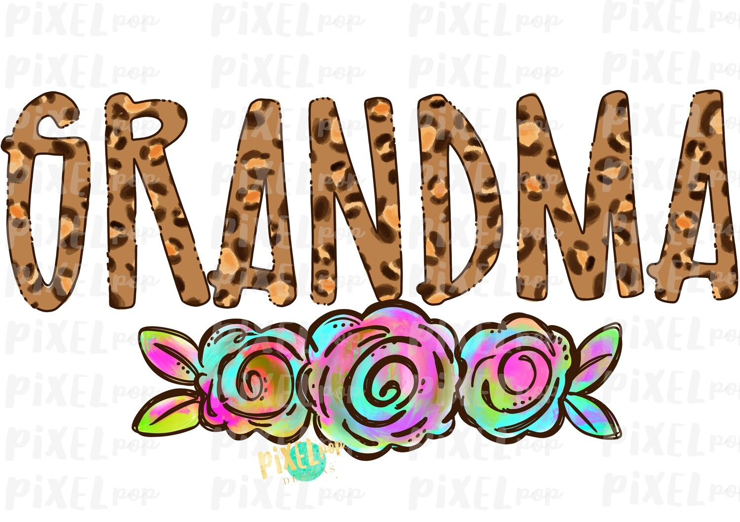 Grandma Leopard Print Rainbow Flowers PNG   Mother's Day Sublimation Design   Hand Painted PNG   Digital Art   Printable Art   Clip Art