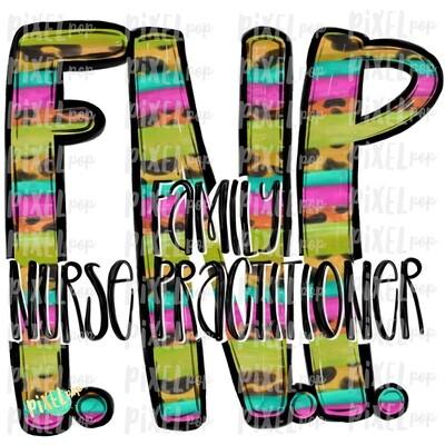 Family Nurse Practitioner Bright PNG Design   Sublimation   Hand Drawn Art   Nursing PNG   Medical Clipart   Digital Download   Art