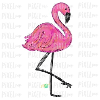 Flamingo Bird PNG | Pink Flamingo Sublimation Design | Hand Painted Bird | Watercolor Bird Digital Download | Printable Art | Clip Art