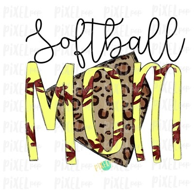 Softball Mom Leopard Home Plate Sublimation PNG Design | Softball Design | Sublimation Design | Heat Transfer | Digital Download | Printable Artwork