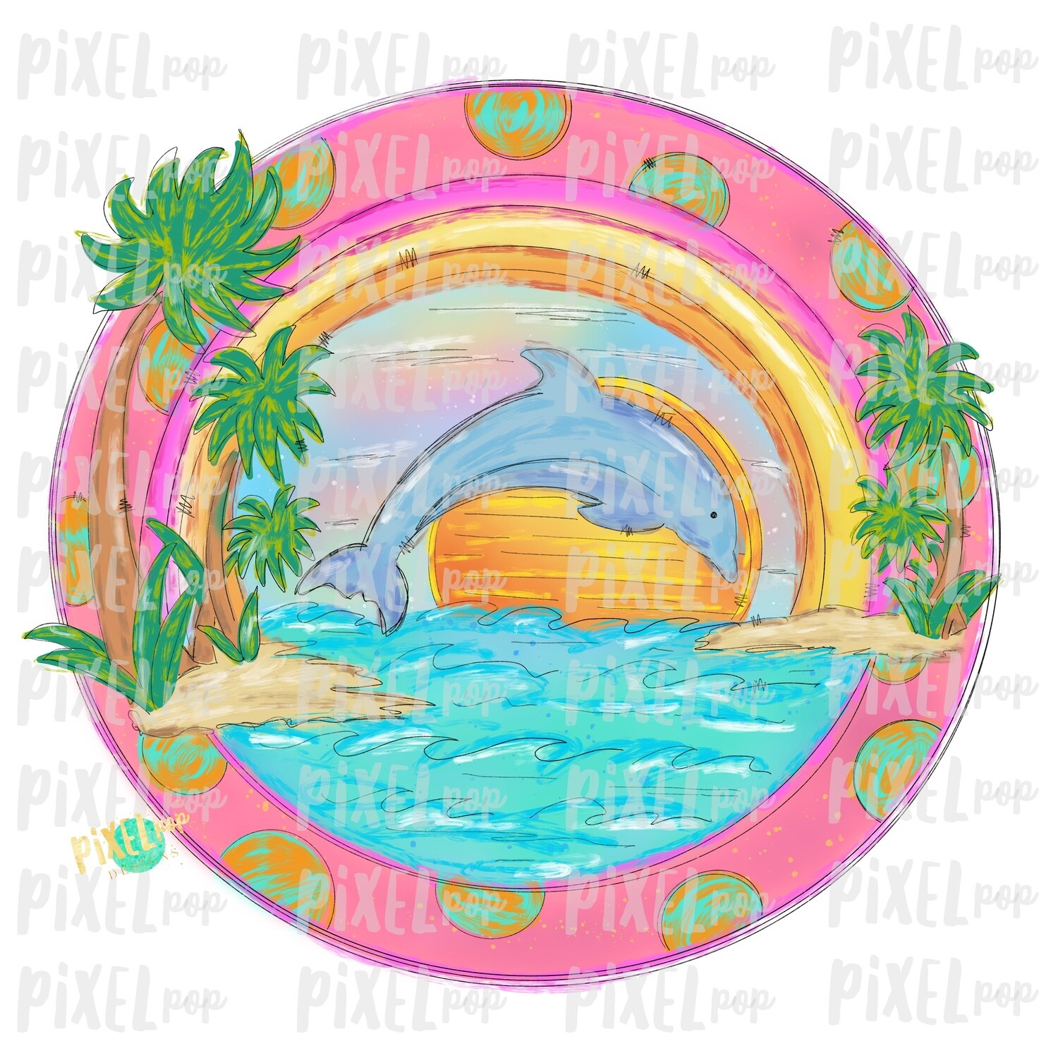 Beach Scene with Palms and Dolphin PNG | Sublimation | Palm | Hand Drawn PNG | Sublimation PNG | Digital Download | Printable Art | Clip Art