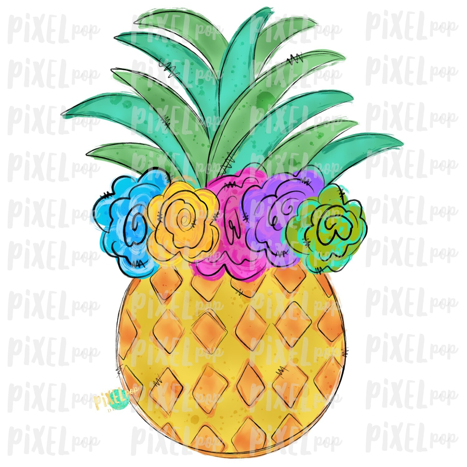 Pineapple with Flower Crown Design | Sublimation | Fruit | Hand Drawn PNG | Sublimation PNG | Digital Download | Printable Art | Clip Art