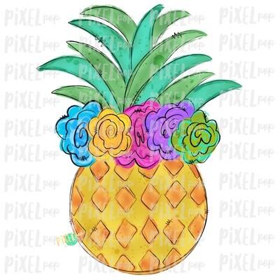 Pineapple with Flower Crown Design | Sublimation | Fruit | Hand Drawn PNG | Sublimation PNG | Digital Download | Printable Art | Clip Art