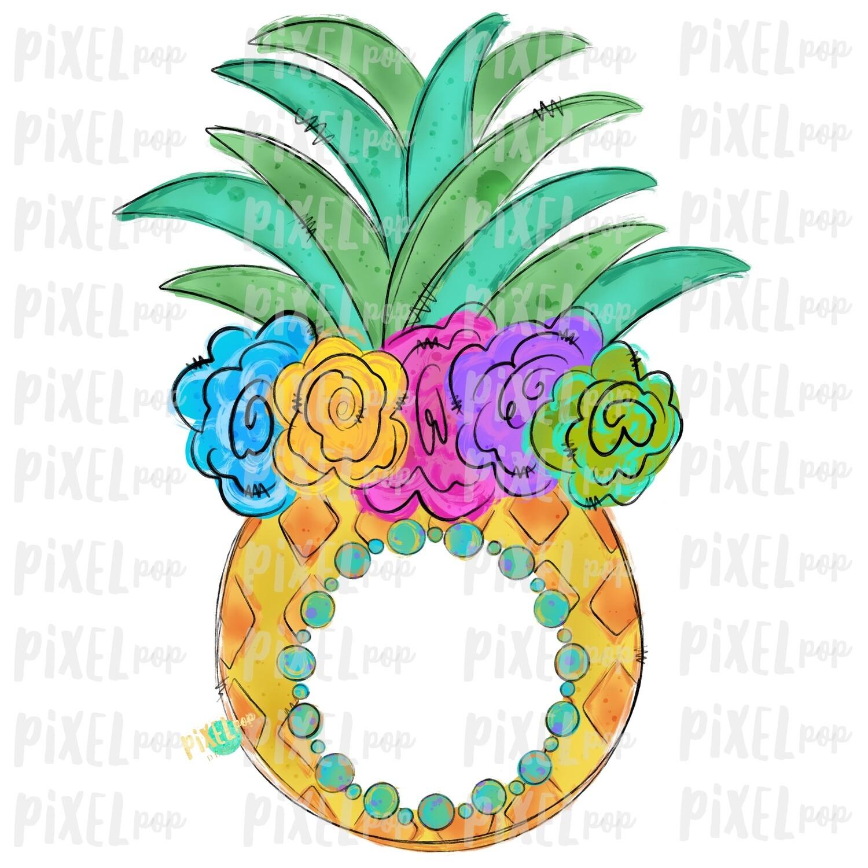 Pineapple with Flower Crown Design   Sublimation   Monogram blank   Fruit   Hand Drawn PNG   Digital Download   Printable Art   Clip Art
