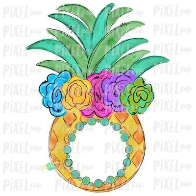 Pineapple with Flower Crown Design | Sublimation | Monogram blank | Fruit | Hand Drawn PNG | Digital Download | Printable Art | Clip Art