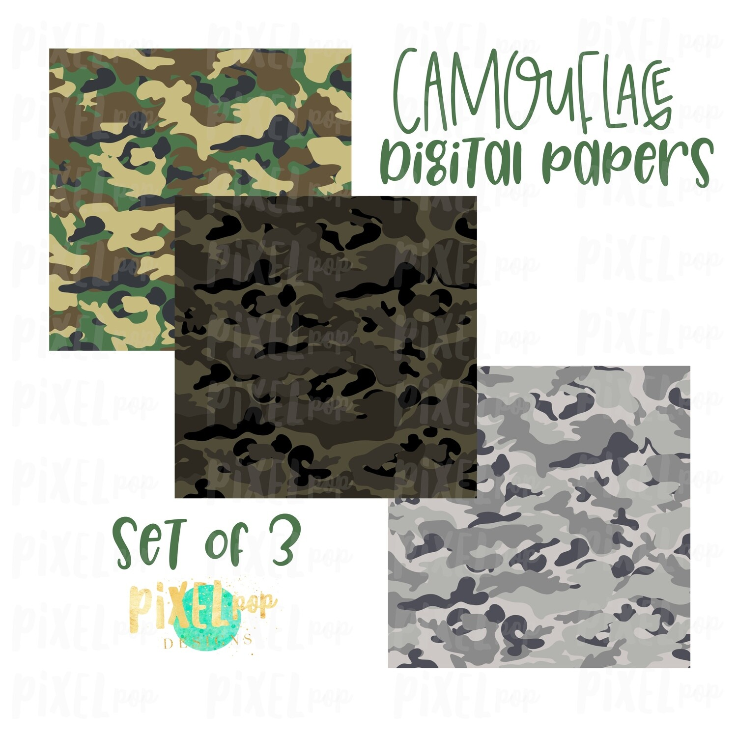 Camouflage Digital Papers Set of Three | Camo Digital | Military Digital | Sublimation PNG | Digital Download | Digital Scrapbooking Paper
