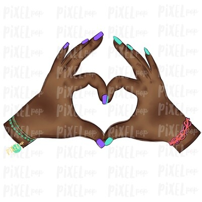 Hand Hearts PNG | African American BFF | Love | Sign Language | Equality | Sublimation PNG | Digital Download | Printable Art | Clip Art