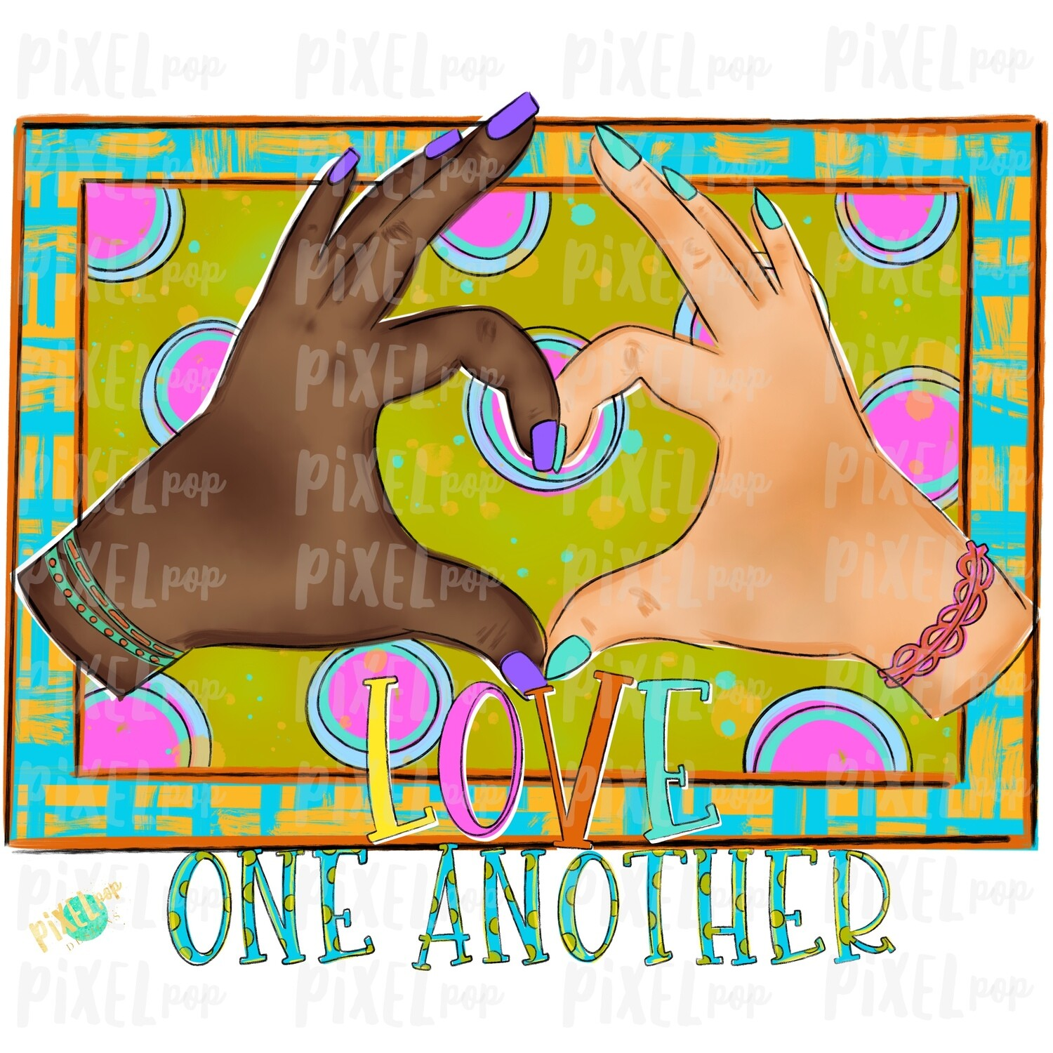 Love One Another PNG | Hand Hearts Design | Equality Hand Painted Digital PNG | Sublimation PNG | Digital Download | Printable Art | ClipArt